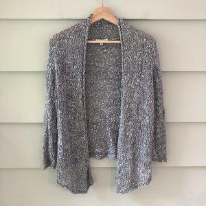 EILEEN FISHER Cardigan Sweater Grey Loose Weave S